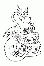 Small Picture Coloring Pages Dragon And Happy Birthday Cake Coloring Page For