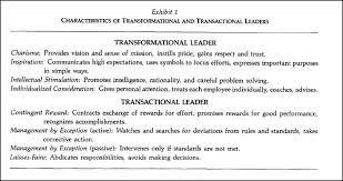 leadership theories essay characteristics of transformational and transactional leaders