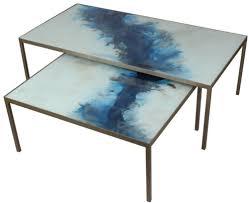set 2 coffee table blue mist organic