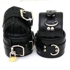 padded black real leather wrist ankle cuffs 4 pieces set restraints lockable com
