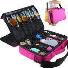 amazon professional makeup train case flymei 3 layer cosmetic organizer make up artist storage with shoulder strap for cosmetics makeup brush set