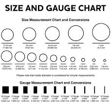 Body Jewelry Measurement Chart Gauge Size Chart Size 4 Now I Can Remember My Size