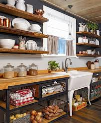 open kitchen cabinets. in this rustic kitchen you will see a return to more simple life. wood · open cabinets t