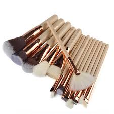 best maange 15pcs set professional wooden handle foundatation makeup brushes cosmetic brush kit newchic