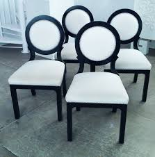 set of four hollywood regency black and white circleback dining