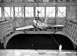 F 86 Lowered into Full Scale Tunnel at Ames NASA