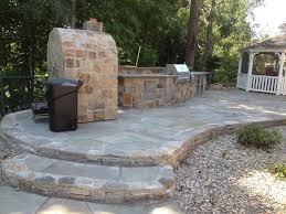 flagstone raised patio patio