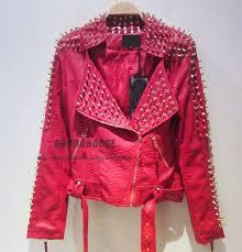 new 2016 women zipper black glod punk strong spike rivet studded shoulder snake pattern pu leather jacket
