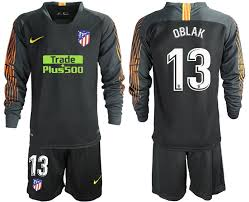 Black 2018 Madrid Sleeve Oblak 19 Soccer Long 13 Goalkeeper Atletico Jersey