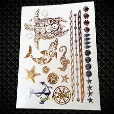 25 стиль флэш золотой металлик татуировки водонепроницаемый черепаха