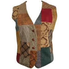 roberto cavalli leather multi patterns patchwork vest for