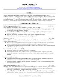 Residential Property Management Resume Resume Work Template