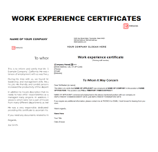 Work Experience Certificate Templates Word Format