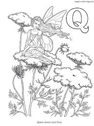 Create your own flash cards: Magic Coloring Queen Anne S Lace Fairy Flower Coloring Page For Letter Q
