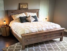 king bed frame with headboard. Farmhouse King Bed - Knotty Alder And Grey Stain | Do It Yourself Home Projects From Frame With Headboard