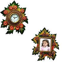 papier mache wall clock and photo frame
