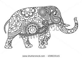 Small Picture Indian Elephant Coloring Pages Template Vector Stock Vector