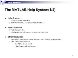 matlab igrave euml not cedil an overview of matlab an overview of matlab  an overview of matlab 21 the matlab help system 1 4 help browser