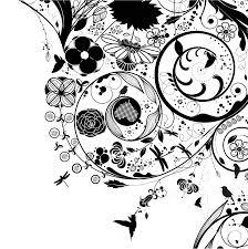 花のイラストフリー素材壁紙背景no835白黒渦巻き状鳥