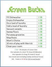 Screen Bucks Kids Earn Screen Time By Doing Chores