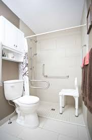 wet room and accessible shower with a shower chair