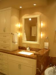toilet lighting ideas. Beautiful Ideas Beige Painted Wall Brown Marble Countertop White Undermount Sink Single  Steeled Faucet Raised Panel Cabinet In Toilet Lighting Ideas C