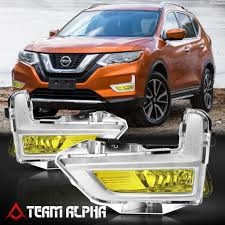 Details About Fits 2017 2018 Nissan Rogue Yellow Fog Light Lamp W Switch Harness Silver Bezel