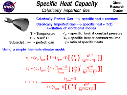 a mathematical model of the specific heat capacity for a calorically imperfect gas value is