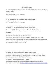 Apa Quiz Answers 1 According To Apa Format The List Of