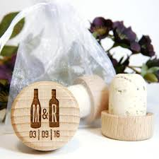 personalized wine cork with two wine bottles monogram and wedding date