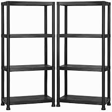 vonhaus pack of two 4 tier plastic shelving