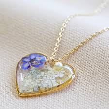 pressed flower heart pendant necklace