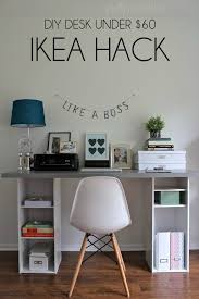 Small Spaces Ikea Hack Easy Diy Desk For Under 60 Pinterest Ikea Hack Desk With Storage Shelves Wah Home Office Diy Desk