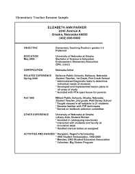 Objective Of Elementary Teaching Position With Resume Examples For