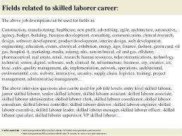Laborer Job Description For Resume Construction Laborers Job