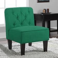 Tufted Emerald Green Slipper Chair