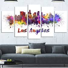 designart los angeles skyline cityscape metal wall art mt6582 60x32 5 panels on wall art stores los angeles with amazon designart los angeles skyline cityscape metal wall art