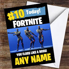 printable children s birthday cards fortnite dances floss like a boss personalized childrens birthday card