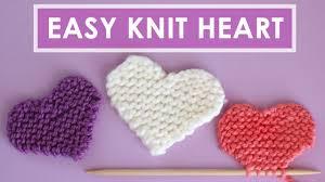 Easy Heart <b>Knitting Pattern</b> in Garter Stitch - YouTube