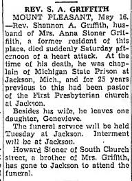 Rev Shannon Griffith Obit The Daily Courier Connellsville, Pennsylvania  Monday, May 16, 1949 - Newspapers.com