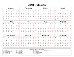yearly printable calendar 2018 calendar 2018 pdf with holidays printable editable blank