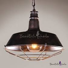 industrial barn pendant light in retro style with 18 11 w metal cage rust