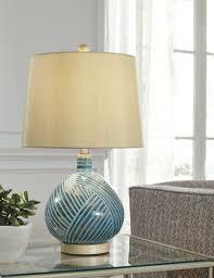 Jenaro Teal Glass Table Lamp 1cnashleyexpress