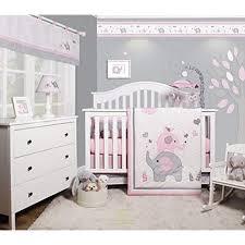 bedding sets optimababy pink grey elephant 6 piece girl nursery crib