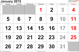 january 2015 calendar. Perfect Calendar Calendar January 2015 Landscape Orientation Large Numerals 1 Page With  UK Bank With 2015 K