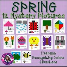 Die Spring Color Chart Spring Mystery Pictures Hundreds Chart Recognizing Colors Numbers