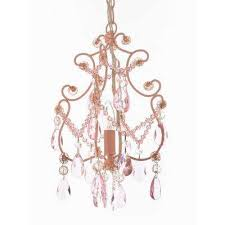 versailles 1 light iron and crystal pink chandelier pendant