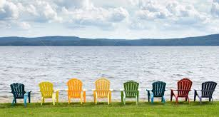 adirondack chairs on beach. Eight Colorful Adirondack Chairs Lined Up On The Beach Looking Out  Lake, Mountains Adirondack