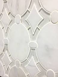 antique waterjet mosaic tile in arabeo polished marble and white clear glass mosaic