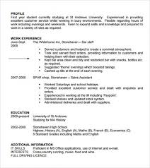 Snazzy Curriculum Vitae Of A Student Student Cv Template 7 Download